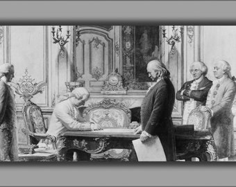 24x36 Poster . Benjamin Franklin At Treaty Of Amity And Commerce