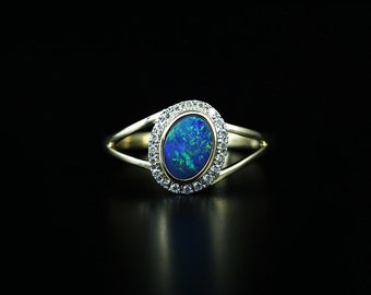 Opal Diamond Ring in 14k Gold. Unique White Gold/Yellow Gold Ring with Diamonds and Opal. Gold Diamond Ring. SKU: DR2138