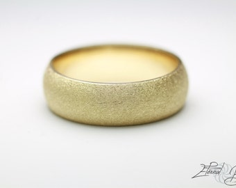 18k Solid Yellow Gold Wedding Band, Matte Wedding Band, Brushed Wedding Band, 6mm, Matte Finish Half Round Band