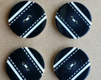 Decorative Black and White Striped plastic buttons, 20mm, 15mm
