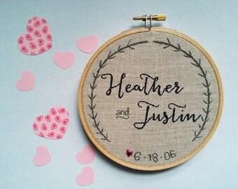 Hand Embroidered Linen Hoop Art - Custom Names & Date - Wedding Gift