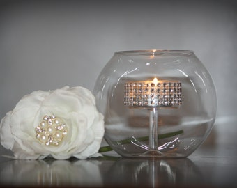 Raised Glass Bowl Candle Holder
