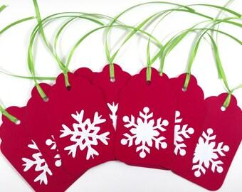 Snowflake Christmas tag,  Glitter Snowflake Tags, Merry Christmas tag, Season's greeting tag, Red white gift tag, Unique Christmas gift tag,