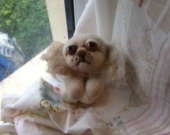 Begging Pekingese Dog Wool Sculpture/toy Needle Felted