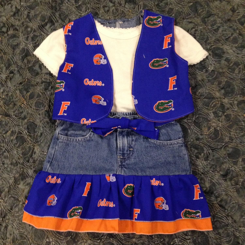 Florida Gators Jean Skirt & Embroidered Vest for Little Girls made
