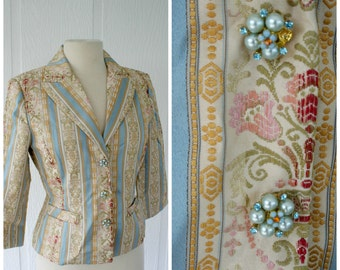 Fundamental Things Vintage Blazer, Pearl Button Blazer, Faux Embroidered Floral Scroll Jacket, Sky Blue Yellow Gold Pink Size 6