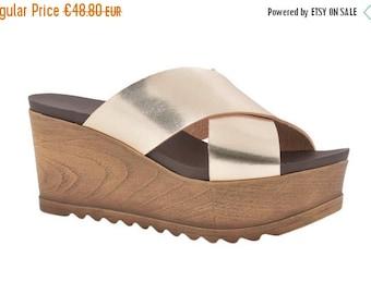SUPER SALE Leather Sandals, Wedge , Sandals, Comfortable Sandals, Women Sandals, Black Sandals, Gold Sandals, Silver Sandals, Cross Foot San
