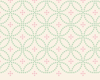 Designed Tablecloth. vintage style tablecloth. green pink dots vintage pattern on off white background.