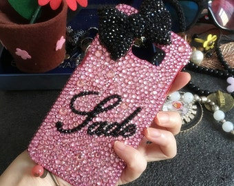 Pink Bling Personalized Diy Name Cursive Letter Words Luxury Lovely Bow Fashion Sparkles Crystals Rhinestones Diamonds Case for Mobile Phone