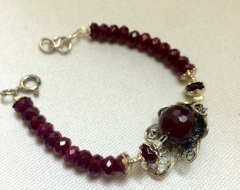 Red Jade Sterling Silver Bracelet