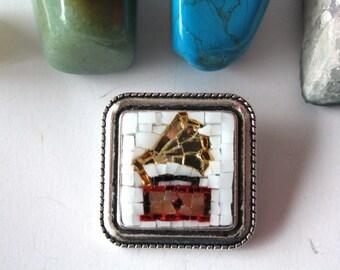 Gramophone / brooch / vintage / mosaic / handmade / made in Italy