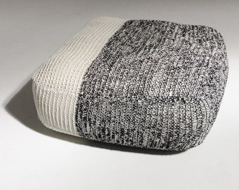 Handmade Knitted Floor Cushion | Grey & Cream | 70x70x30cm | Hand Knit Floor Pillow Pouf Ottoman Footstool