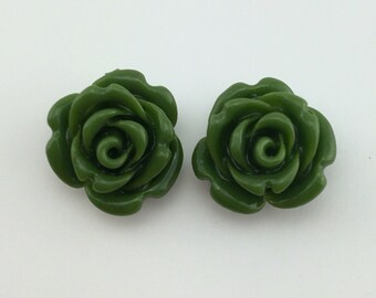 Rose carved earrings - Semi Precious stone, Olive green agate stone, bead agate, flower earrings, rose flower stone, natural stone