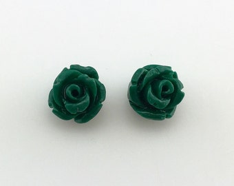 Rose carved earrings - Semi Precious stone, Green agate stone, bead agate, flower earrings, rose flower stone, natural stone, gift for her
