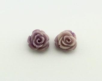 Rose carved earrings - Semi Precious stone, Purple white agate stone, bead agate, flower earrings, rose flower stone, natural stone