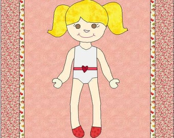 Morgan Paper Doll Appliqué Pattern, Paper Doll Quilt Pattern, Blanket, Dress Up Doll Quilt, Paper Doll Pattern, Blanket, INSTANT DOWNLOAD