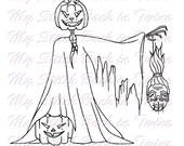 Digital stamp colouring image - Jack skeleton and friends. jpeg / png
