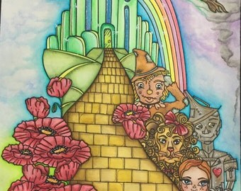 Digital stamp colouring image - A Journey through OZ COLOURING. jpeg / png