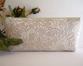 Satin And Lace Clutch - Bridesmaid Makeup Bag - Wedding Clutch - Champagne Clutch - Bridesmaid Clutch - Bridal Clutch - Bridesmaid Gift