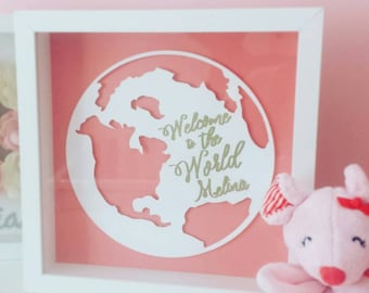 World Shadowbox -3d globe - Baby Room - Baby Shower Gift - Pink Coral White Gold - Nursery Decor -Welcome to the World - Personalized