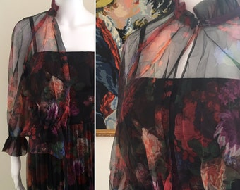 Dark Floral 1970s vintage midi dress jacket size UK14 / AU12 / US10 by California. Made in England
