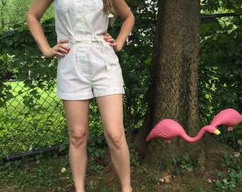 Vintage Romper/jumpsuit/Summer/white/Medium