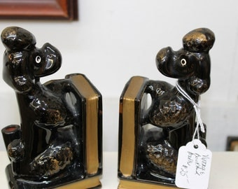 Vintage Black Ceramic Poodle Bookends