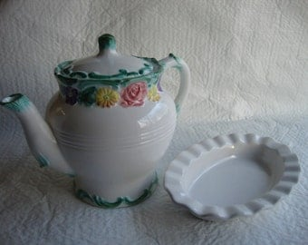 1988 Vintage Flower Teapot with Treat Dish