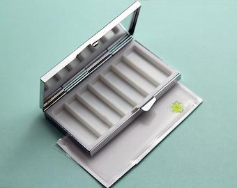 7 day pill box-7 day pill case-Retro pill case-Pill box-7 sections-Retro Rectangle Pill container-Metal pill case-Optional Epoxy Sticker