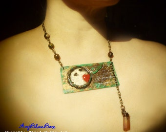 Love Soaring - Mixed-Media Art Necklace