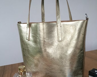 Metallic Leather Tote.  Medium Tote in gold leather.   Perfect summer bag.  Beach bag.  Handmade in Belgium.   Present for her.