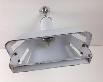 """Rare 1950s Rectangular White Benjamin """"Stock Bin"""" Ceiling Light with Brass Fitting"""