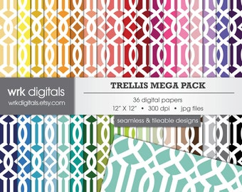 Trellis Mega Pack Seamless Digital Paper Pack, Digital Scrapbooking, Instant Download