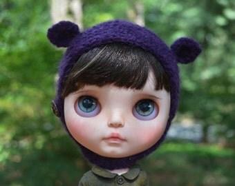 Neo Blythe Doll Purple Mohair Alpaca Bear Animal Helmet Hat
