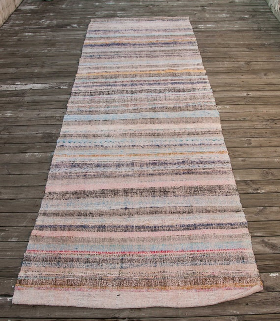 Vintage TURKISH Rag Rug RUNNER All Cotton Folk Art Wonderful