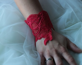 Clearance 30% cufflinks in red lace, lace bracelets