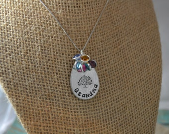 grandma family tree necklace, hand stamped grandma necklace, teardrop necklace, grandma birthstone necklace, mother's day gift