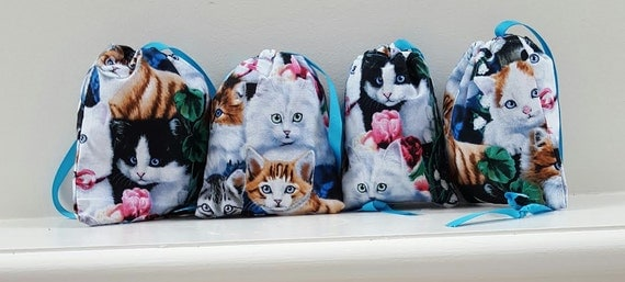 Bags Cat Fabric Set of 4; Drawstring Cat Bags; Lined Cat Drawstring Bags; Party Favor Cat Bags