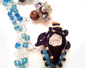 Fish lampwork necklace animals lovers,gifts for her, handmade jewelry, lampwork unique bead necklace, blue brown necklace jewelry gifts blue