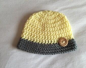 Newborn Twin Hat Set, Baby Hat Set, Yellow and Grey Baby Beanies