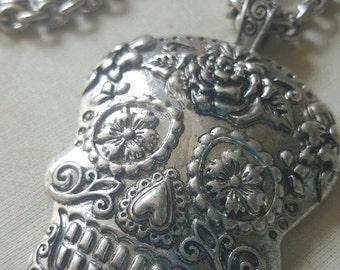 SilverSugar Skull Day of the Dead long Charm Necklace, skulls, long necklace, sugar skull charm