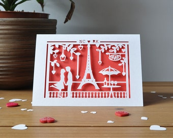 Paris Valentine's Card Personalised With Initials - Handmade Paper Cut - 5x7 Inches