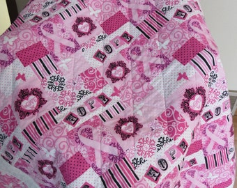 """Breast Cancer Quilt - Pink Butterfly Scroll Border - Ribbons of Hope - Lap quilt, Throw quilt, Chemo blanket - 54"""" x 68"""""""