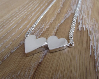 Sterling silver big heart necklace-Love necklace-Heart choker