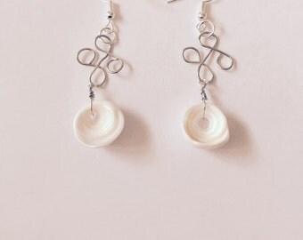 Hawaiian Puka Shell Celtic Cross Silver Wire Earrings
