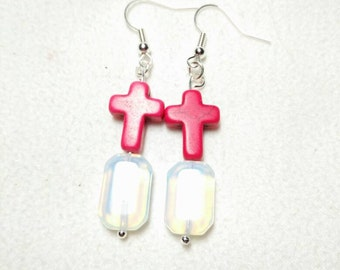 Howlite Cross and Moonstone earrings
