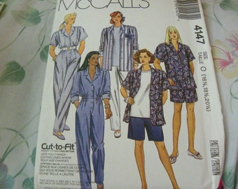 Vintage 1989 McCalls 4147 Sewing Pattern Half Size Shirt, Jumpsuit, Pants, And Shorts, Size 16 1/2, 18 1/2, 20 1/2