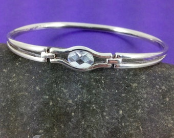 Vintage Silver Bangle, Vintage Crystal, Vintage Gift, Vintage Wedding, Bridal,