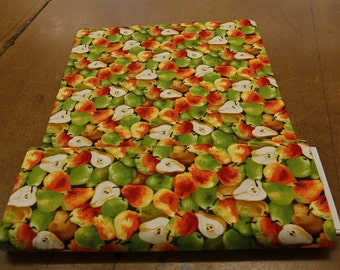 Pears Green and Orange Quilting Fabric By The Yard