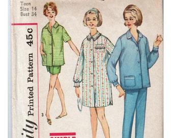 Vintage Pajamas Pattern SIMPLICITY 4189 sz 14 b 34 Womens Pajamas Sleepwear Pattern Short Pajamas Night Shirt Pattern Boyfriend Pajamas